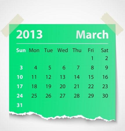 2013 calendar march colorful torn paper  Vector illustration Vector