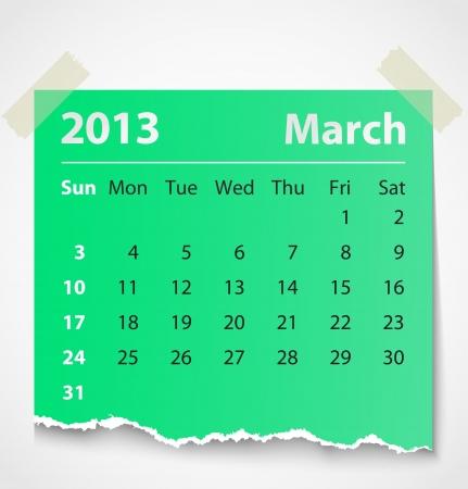 2013 calendar march colorful torn paper  Vector illustration Vector
