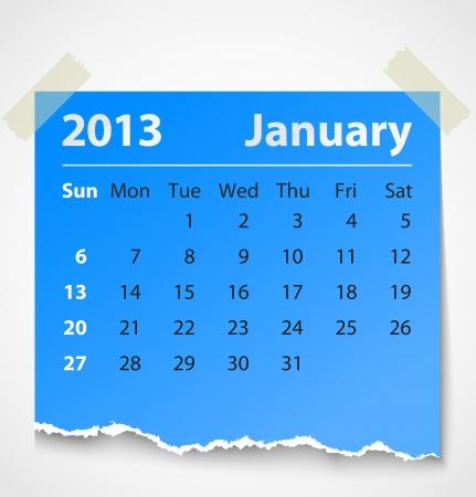2013 calendar Januar bunten Papierfetzen Vektor-Illustration Standard-Bild - 14930772