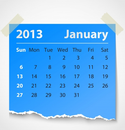 2013 calendar january colorful torn paper  Vector illustration