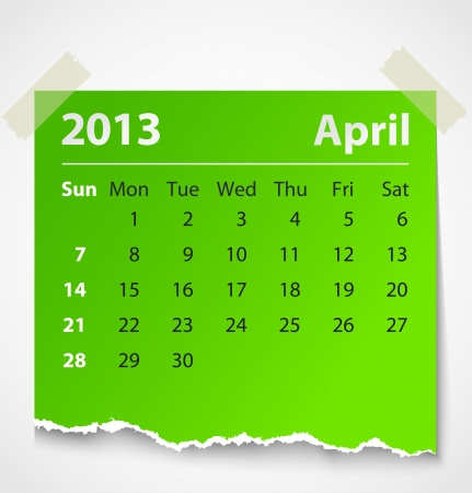 2013 calendar april colorful torn paper  Vector illustration Stock Vector - 14930768