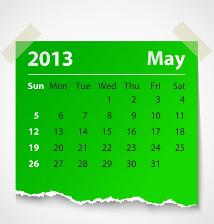 2013 calendar may colorful torn paper  Vector illustration Vector
