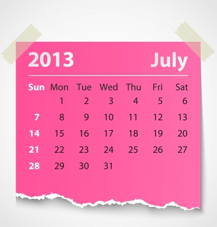 2013 calendar july colorful torn paper  Vector illustration Vector