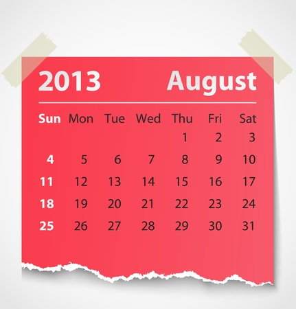 2013 calendar august colorful torn paper  Vector illustration Stock Vector - 14930783