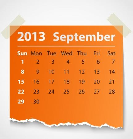 2013 calendar september colorful torn paper  Vector illustration