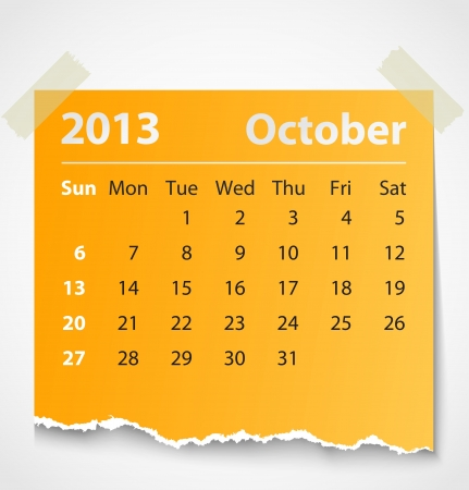2013 calendar october colorful torn paper  Vector illustration Vector