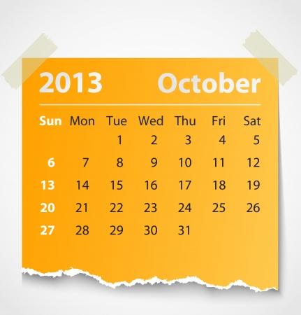 kalender oktober: 2013 kalender oktober kleurrijke gescheurd papier vector illustratie Stock Illustratie