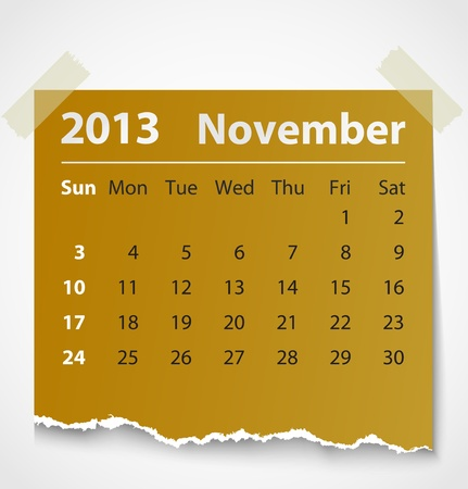 2013 calendar november colorful torn paper  Vector illustration Vector