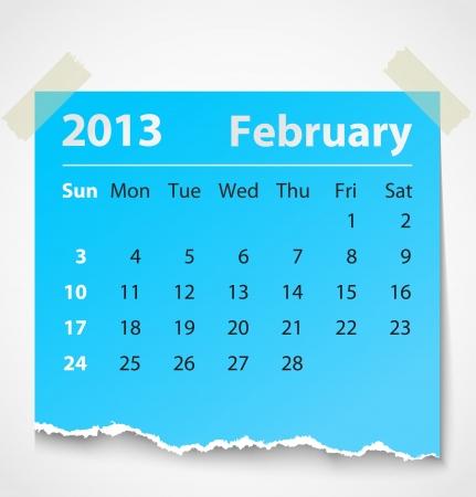 2013 calendar february colorful torn paper  Vector illustration Illustration