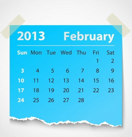 2013 calendar february colorful torn paper  Vector illustration Vectores