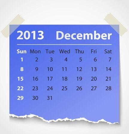 2013 calendar december colorful torn paper  Vector illustration Vector