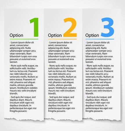 Wit gescheurd papier vooruitgang optielabel achtergrond met beschrijving Genummerde banners