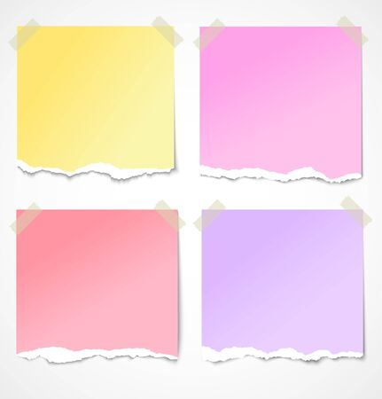 Colorful torn paper stickers, notes and reminders with tape   illustration Stock Vector - 15121862