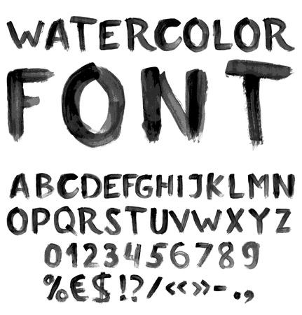 숫자 및 기호로 필기 검은 색 수채화 알파벳 일러스트
