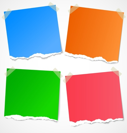 Colorful torn paper stickers, labels, notes and reminders with tape