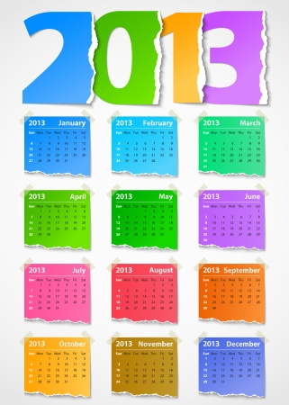 Calendar 2013 colorful torn paper. Vector illustration Vector