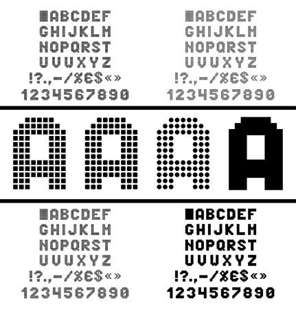 숫자 및 기호와 픽셀 알파벳