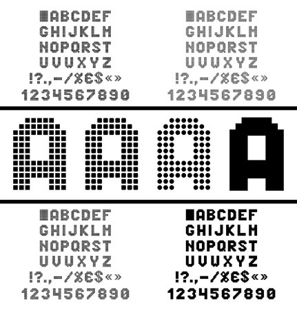 Pixel alphabet with numbers and symbols