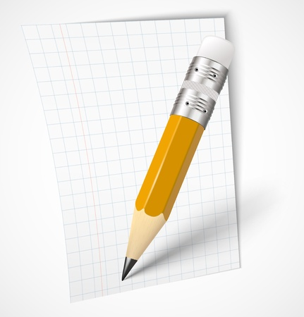 Realistic yellow pencil with paper icon  illustration Stock Vector - 16183707
