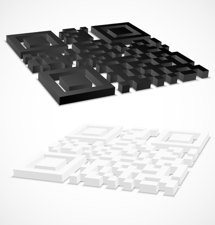 up code: 3d black and white qr code  illustration