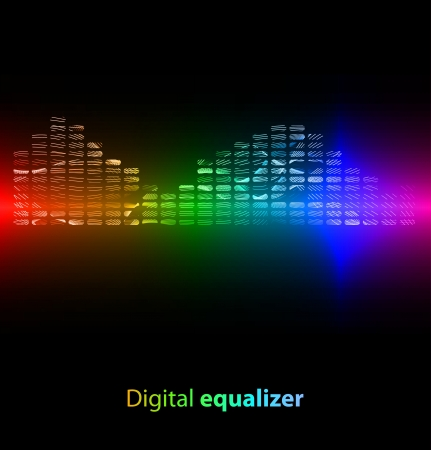 high volume: Colorful striped digital equalizer on black background  Vector illustration