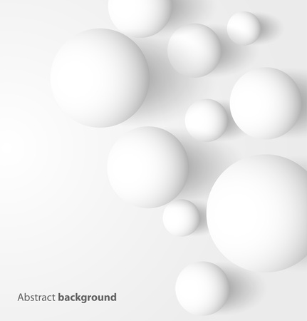 Abstract 3D white spheric background  Vector illustration Vectores