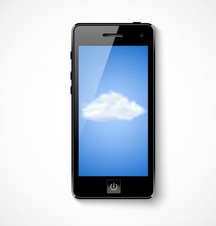 accessing: Cloud computing concept  Mobile phone with cloud icon  Vector illustration Illustration