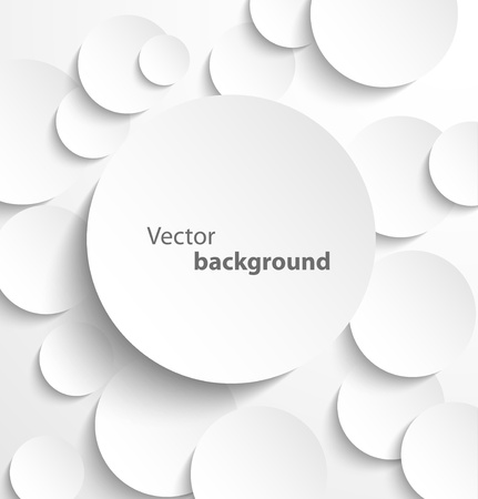 white  background: Paper circle banner with drop shadows  Vector illustration