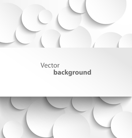 Paper rectangle banner on circle background with drop shadows  Vector illustration