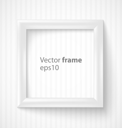 White square 3d photo frame with shadow illustration