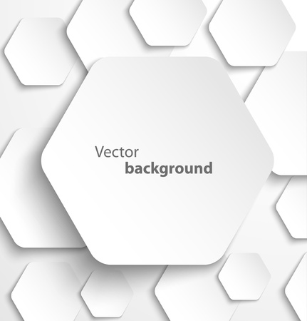 hexagon background: Paper hexagon banner with drop shadows illustration