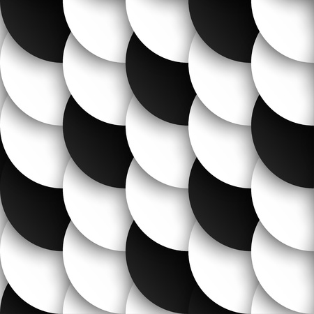Seamles pattern of black and white circles with drop shadows illustration