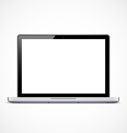 Laptop with white screen illustration Vectores