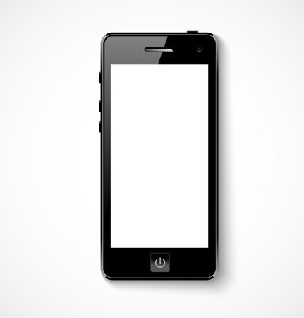 Mobile phone with white screen illustration Vector