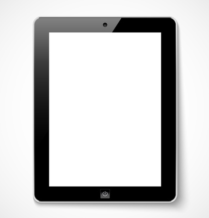 Tablet computer with white screen illustration Illustration