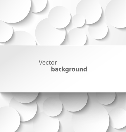 Paper rectangle banner on abstract circle background with drop shadows  Vector illustration