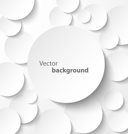 Paper circle banner with drop shadows on abstract background  Vector illustration
