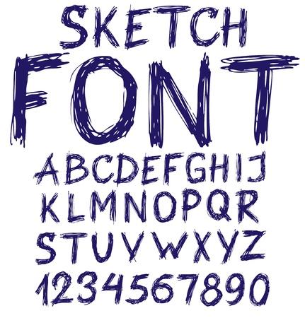 style: Handwritten blue sketch alphabet  Vector illustration