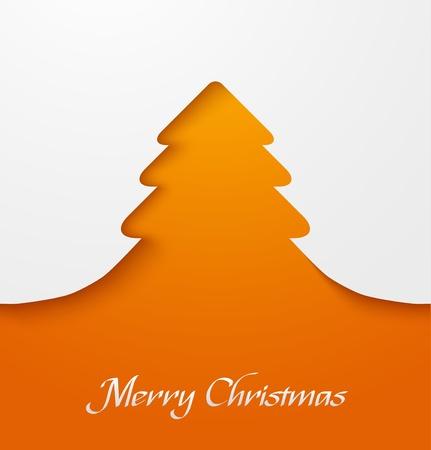 Orange abstract christmas tree applique  Ilustração