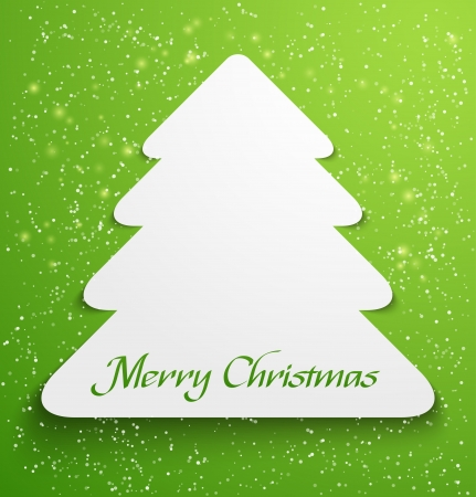 Green abstract christmas tree applique with snow particles   Vector