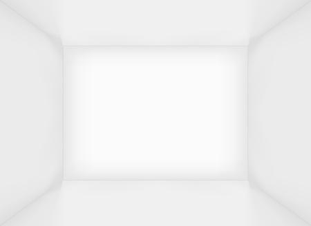 심플한 화이트 빈 사각형 룸 인테리어 또는 상자