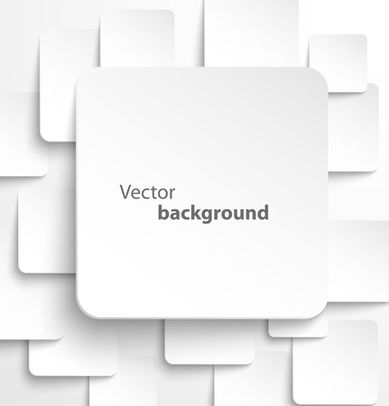 a white background: Paper square banner with drop shadows on white background