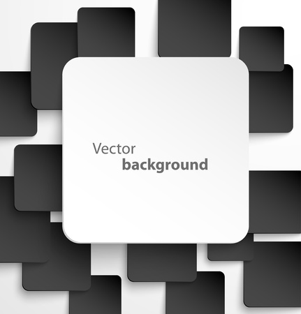 Paper square banner with drop shadows on black background