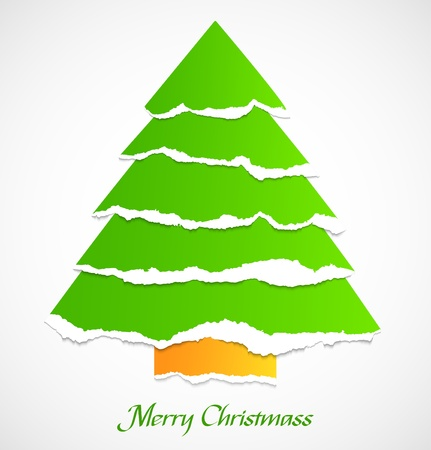 Torn paper green abstract christmas tree  Stock Vector - 16884453