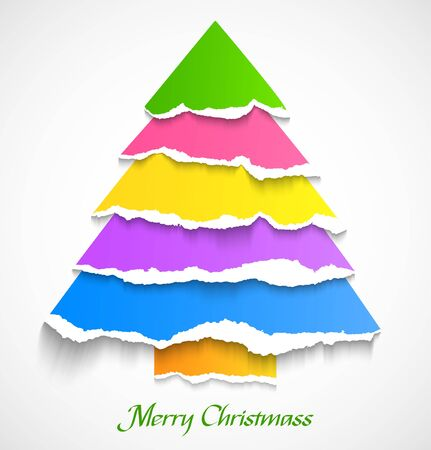 Torn paper colorful abstract christmas tree  Vector