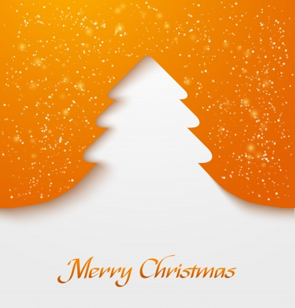 christmas backdrop: Orange abstract christmas tree applique with snow particles  illustration