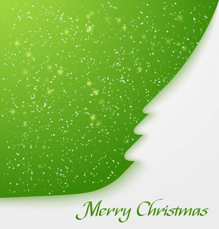 Green abstract christmas tree applique with snow particles  illustration Vector