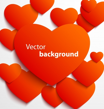 banner effect: Red paper heart banner with drop shadows on white background  Vector illustration