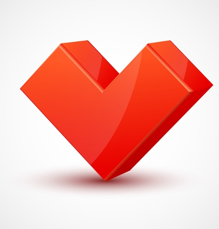amity: Red shiny 3d cubic heart.