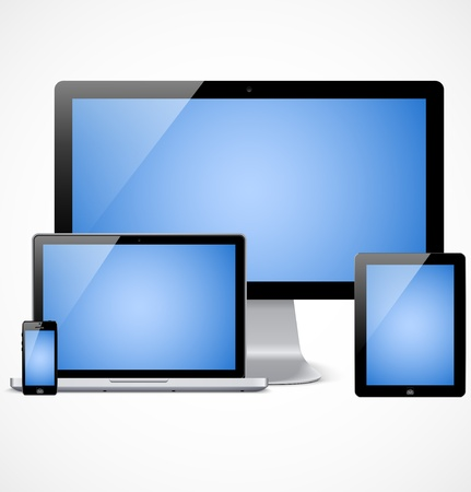 computador tablet: Conjunto de visualização realista, laptop, computador tablet e modelo de telefone celular com a tela azul